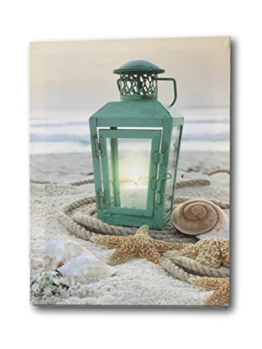 BANBERRY DESIGNS Beach Decor - LED Print with a Teal Lantern Sitting on The Beach - Seaside Setting with Shells and Starfish - Ocean Prints -