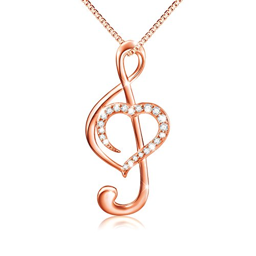 ((Musical Note Necklace Pendant) 925 Sterling Silver CZ Jewelry for Women, Box Chain 18