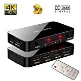 4K Ultra HD HDMI Switch with IR Remote Control, 4 Input 1 Output Port 4K X 2K HDMI Switcher Support 3D, 1080P, 4Kx2K @60Hz for HDTV