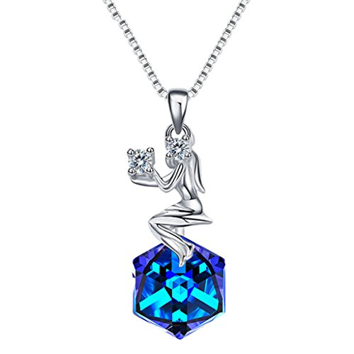 EleQueen 925 Sterling Silver CZ Square Virgo Zodiac Constellation Sign Pendant Necklace Blue Made with Swarovski (Crystal Pave Pendant Necklace)