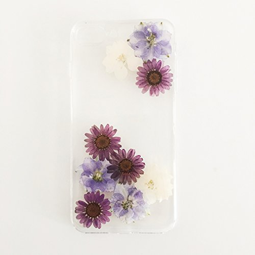 Sunday Gallery Handmade Floral Real Pressed Dried Flowers Daisy Flower TPU Gel Rubber Skin Silicone Protective Plastic Soft Phone Case Cover For iPhone 7 Plus 5.5 inch (Design #2)