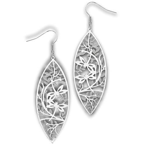 Leaf Double Earrings - Fantasy Forge Jewelry Double Dragonfly Leaf Earrings Surgical Stainless Steel Hypoallergenic