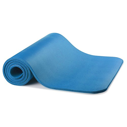 Non-Slip Exercise Yoga Mat All Purpose 1/2-Inch Extra Thick Comfort Foam High Density Yoga and Pilates Exercise Eco Friendly and Non Toxic (Blue)