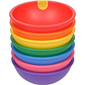 Lollaland Plastic Bowls for Kids (7-Count Rainbow Assorted): Made in USA, Microwave-/Dishwasher-Safe …