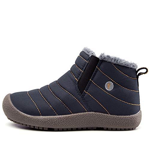 JIAWA Kids Snow Boots Boys Winter Waterproof Boots Girls Slip-on Anti-Slip Fur Lined Warm Booties(Blue 11.5 M US Little Kid) by JIAWA (Image #1)