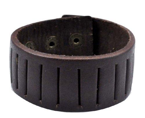 Unisex Metal Strap Leather Bracelet