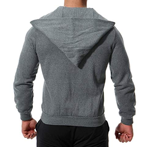 Coat Mens Fleece with Dark XINHEO Solid Grey Colored Zips Jacket Casual with Hood 6qRz1S
