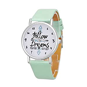 Follow Your Dreams Patron Relojes - SODIAL(R)Mujeres Follow Your Dreams Patron PU Relojes de Pulsera (Menta verde)
