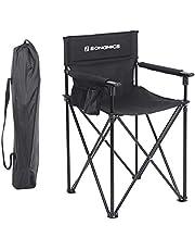 SONGMICS Regiestuhl, klappbar, hohe Sitzfläche, Klappstuhl, Campingstuhl mit 3 Taschen, für Visagisten, Friseur, hoch belastbar, max. Belastbartkeit 150 kg