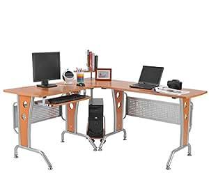 Mesa ordenador pc esquinera 165x143x86 5cm madera for Mesa esquinera madera