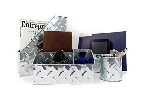 Blu Monaco Chrome Desk Organizer for Men - 4 Piece Desktop Organizer and Accessories Set - Letter - Mail Organizer, Sticky Note Holder, Pen Cup, Magazine File Holder - Galvanized - Chrome Finish ()