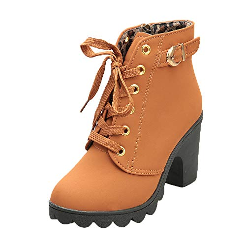 Womens Buckle Strap Ankle Boots - Ladies Sexy High Heel Chunky Platform Lace Up Dress Booties Shoes (Yellow, US:4.5)