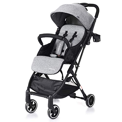 BABY JOY Stroller, Pram Baby Carriage, Lightweight Stroller with 5-Point Harness, Multi-Position Reclining Seat, Warm Foot Cover, Extended Canopy, Easy Folding for Travel, Airplane Compartment (Gray)