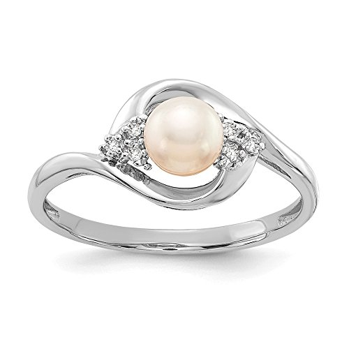 14k White Gold Freshwater Cultured Pearl Diamond Band Ring Size 7.00 Birthstone June Set Style Fine Jewelry Gifts For Women For Her