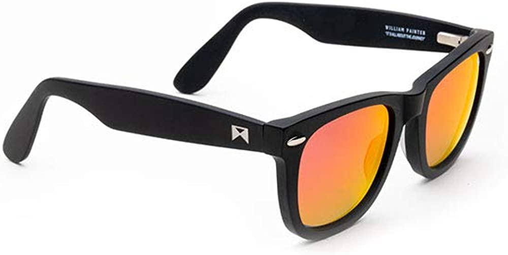 William Painter The Sloan Black Titanium Sunglasses for Men and Women, Black and Red