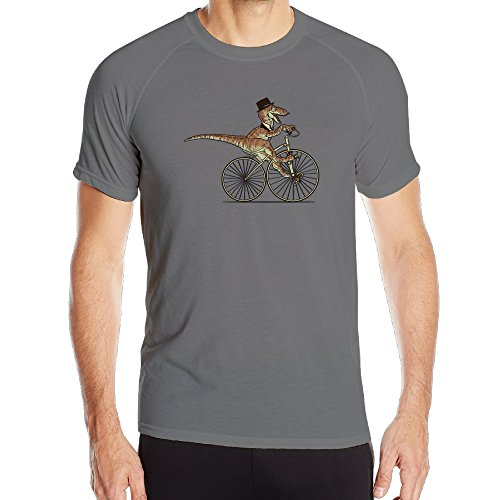 [BENZ47' Men's Sportwear Sir Raptor Rides A Bike Athletic Shirts DeepHeather X-Large] (Persona 4 Dancing All Night Costumes)