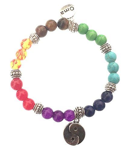 7 Chakra Semi Precious Stones Tibetan Buddhist Meditation and Healing Bracelet With Ying Yang Charm - OMA Brand by OMA (Image #4)