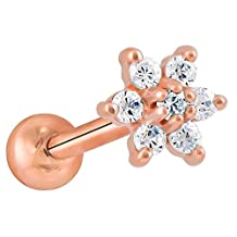 Diamond Flower 14K Rose Gold Cartilage Helix Earring - 18G 5/16""