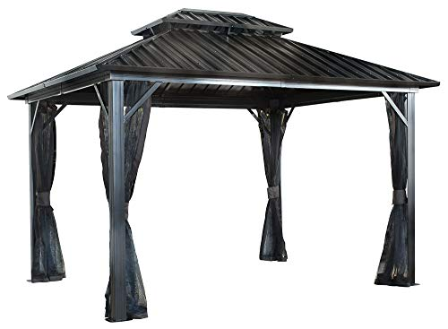 Sojag 12' x 12' Genova Double Roof Hardtop Gazebo 4-Season Outdoor Sun Shelter with Mosquito Net, Black,Brown