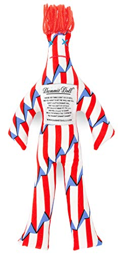 Dammit Doll - Classic Yankee Doodle -Horizontal Candy Red & White Stripes with Blue Sails-Red Hair- Stress Relief, Gag -