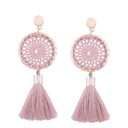 Sunyastor Fashion Bohemian Vintage Long Tassel Travel Fringe Boho Dangle Crystals Ethnic Oxidised Ear Studs Women Jewelry (Pink, One Size)