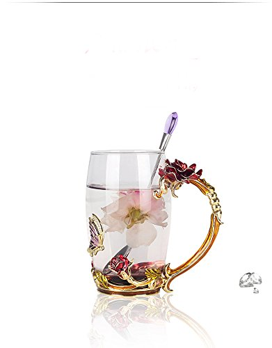 Full Lead Crystal Rose (Creative Handmade Enamel Home Decoration Enamel Flower Crystal Glass Coffee Tea Water Cup (37CL, Rose Red))