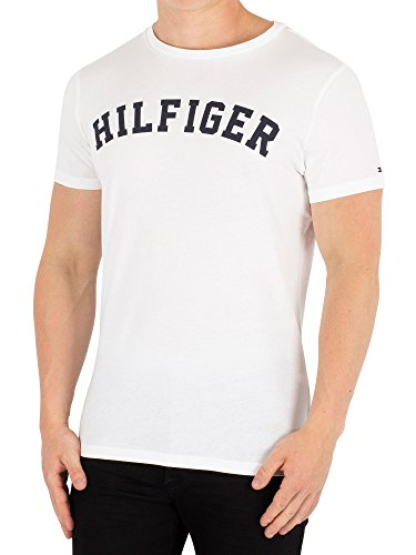 Logo Arched Tee (Tommy Hilfiger Men's Arched Logo T-Shirt, White, X-Large)