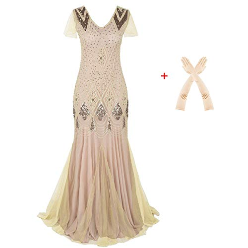 Women Evening Dress 1920s Flapper Cocktail Mermaid Plus Size Formal Gown with Long Gloves (XL/US 16-18, Champagne Pink) ()