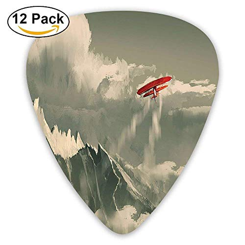 NOAID Biplane Flying Over Mountain Range Inside Storm Clouds Digital Paint Guitar Picks 12/Pack