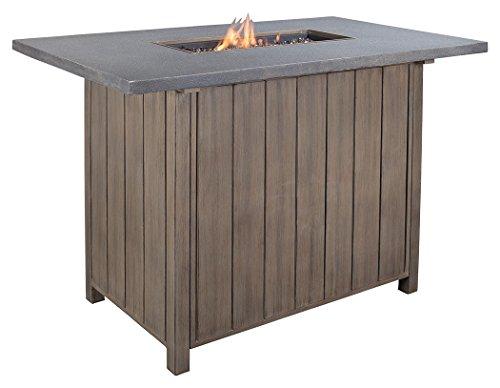 Ashley Furniture Signature Design - Partanna Outdoor Fire Pit Table - Aluminum Top - Burner Cover - Beige & Brown