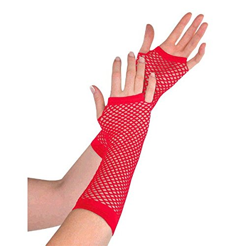 Amscan Fishnet Long Gloves, Party Accessory, Red