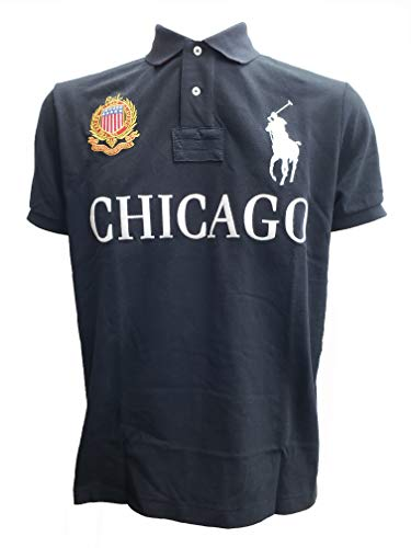 POLO RALPH LAUREN Mens Custom Slim Fit Mesh City Polo Shirt (M, Black Chicago) (Macys Chicago)