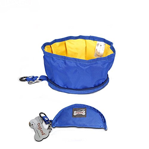 Blue Water Bowl (GOGOKING Pet Dog Bowl Folding Dog Bowl Travel Food And Water Bowl Portable Food Bowls For Pets Dogs)