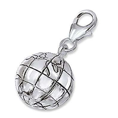 TheCharmWorks Sterling Silver Globetrotter's Spherical Globe Clip on Charm 4SEgfT