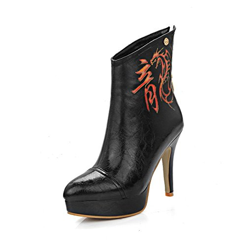 Allhqfashion Womens Zacht Materiaal Wees Gesloten Teen Assorti Kleur Spikes Stiletto Boots, Zwart, 44