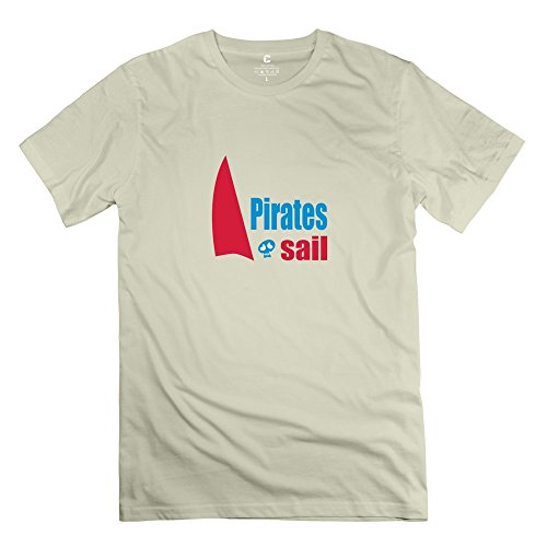 TGRJ Men's Tees - New Design Sailing Pirate Ship Wall Art Sticker Tee Natural Size L