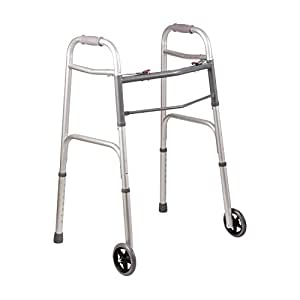 Duro-Med DMI Lightweight Aluminum Folding Walker with Easy Two Button Release, 5 Inch Wheels, Silver