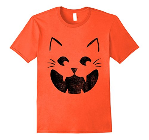 Mens Cat Pumpkin Face Halloween Costume Jack O Lantern T-shirt 3XL Orange