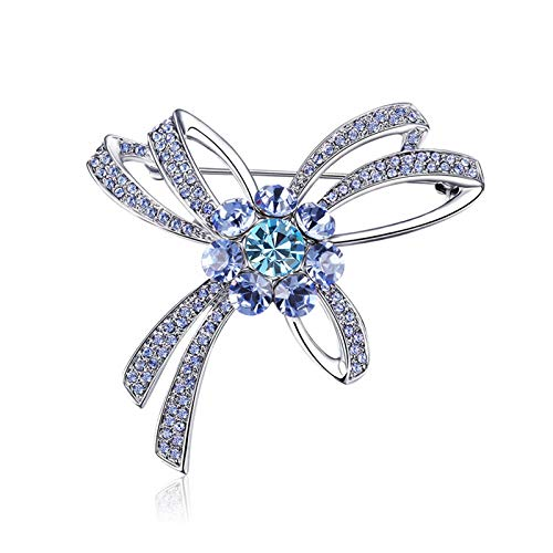 Adisaer Sterling Silver Plated Brooches for Girl Bowknot with CZ Brooches for Girl Silver
