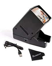 RAINBEAN 35 mm diaprojector, USB draagbaar negatief met LED-verlichting op het bureau - 3-voudige vergroting, geschikt voor 2 x 2 diaprojectoren voor handheld negatieven met positieve film