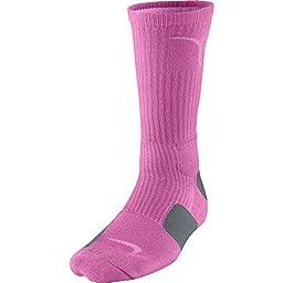 Nike Kay Yow Elite Crew Basketball Socks Pink/Grey Size Socks Medium 4-8