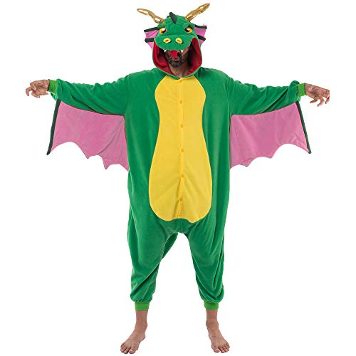 Spooktacular Creations Unisex Adult Pajama Plush Onesie One Piece Dragon Animal Costume (Medium)