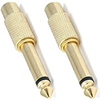 Fivetech 2x RCA Female to 6.3mm 1/4 Mono Male Audio Adapter Gold Plated Jack F/M