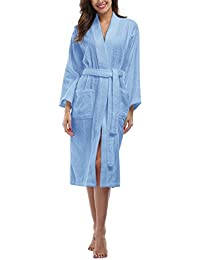Women's Terry Cloth Robes, Lightweight 100% Terry Cotton Spa Bathrobe, Long