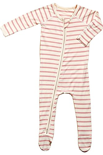 Boody Body Baby EcoWear Long Sleeve Onesie - Soft Blanket Sleeper with Built in Mittens Made from Natural Organic Bamboo - Soft Eco Fashion for Sensitive Skin - Striped Rose Pink-Chalk, Newborn