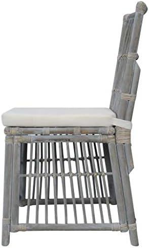 Tidyard Chaises à Dîner 2 pcs   Chaises Salon Design   Chaises Salle Manger avec Coussins Gris Rotin Naturel