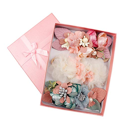(CN Baby Girls Floral Headbands Nylon Flowers Crown Hair Bow Elastic Bands For Newborn Infant Toddlers Kids Pack of 3)