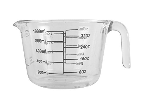 Farberware 5188129 4-Cup Borosilicate Glass Wet and Dry Measuring Cup with Oversized Measurements, Clear