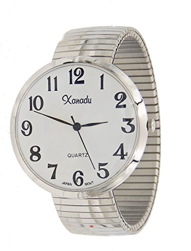 Unisex Large Face Stretch Band Easy to Read Watch-Silver Tone