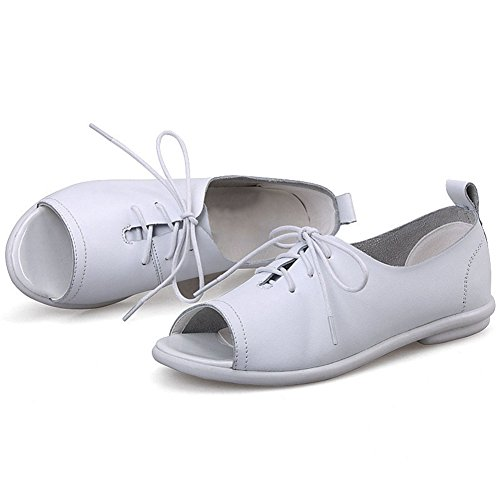 Cybling Peep Toe Sandalen Schoenen Voor Dames Student Lace-up Mode Comfort Casual Flats Antislip Wit
